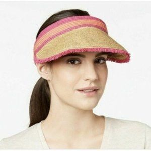 August Hats Colorblocked Straw Visor, One Size